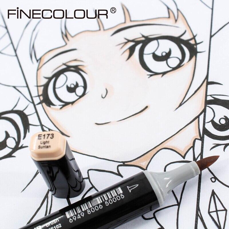 Finecolour 1 Uds EF102 cabezal suave elástico de doble cabeza de diseño profesional marcadores de arte manga pluma suministros de arte para dibujo