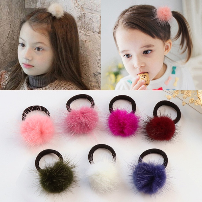 Furling Girl Pack of 2 Genuine Fur Pom Elastic Hair Band Solid Color Mink Ball for Girls Headwear Soft Accessories