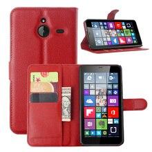 Etui portefeuille en cuir de luxe pour Nokia Microsoft Lumia 640 XL 640XL Coque arrière en cuir avec support Etui Coque funda>