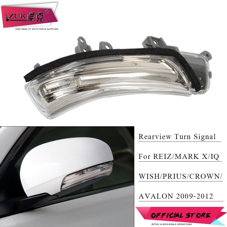 ZUK lusterko wsteczne kierunkowskaz LED lampa błyskowa dla Toyota PRIUS REIZ MARK X AVALON WISH CROWN 2009 2010 2011 2012 2013