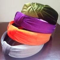 maxsiti u vintage velvet knot design pure color headbands for women girl fashion hairbands custom hair accessories