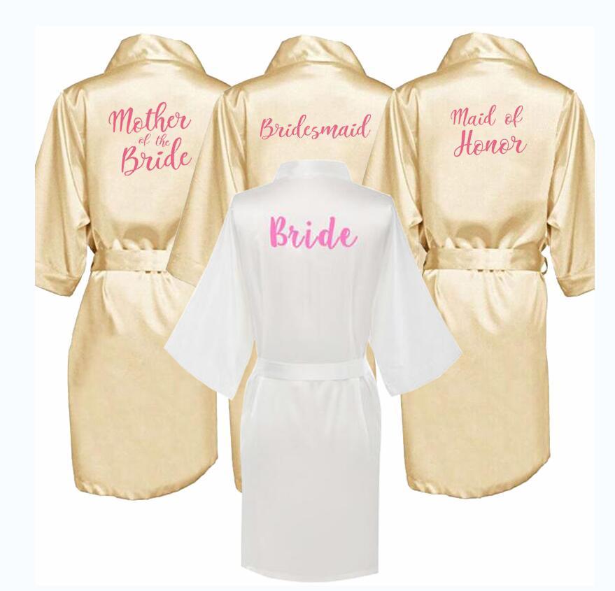 Bata sexy de champán kimono de novia bata de satén Albornoz para mujer traje de boda hermana madre del novio trajes de dama de honor