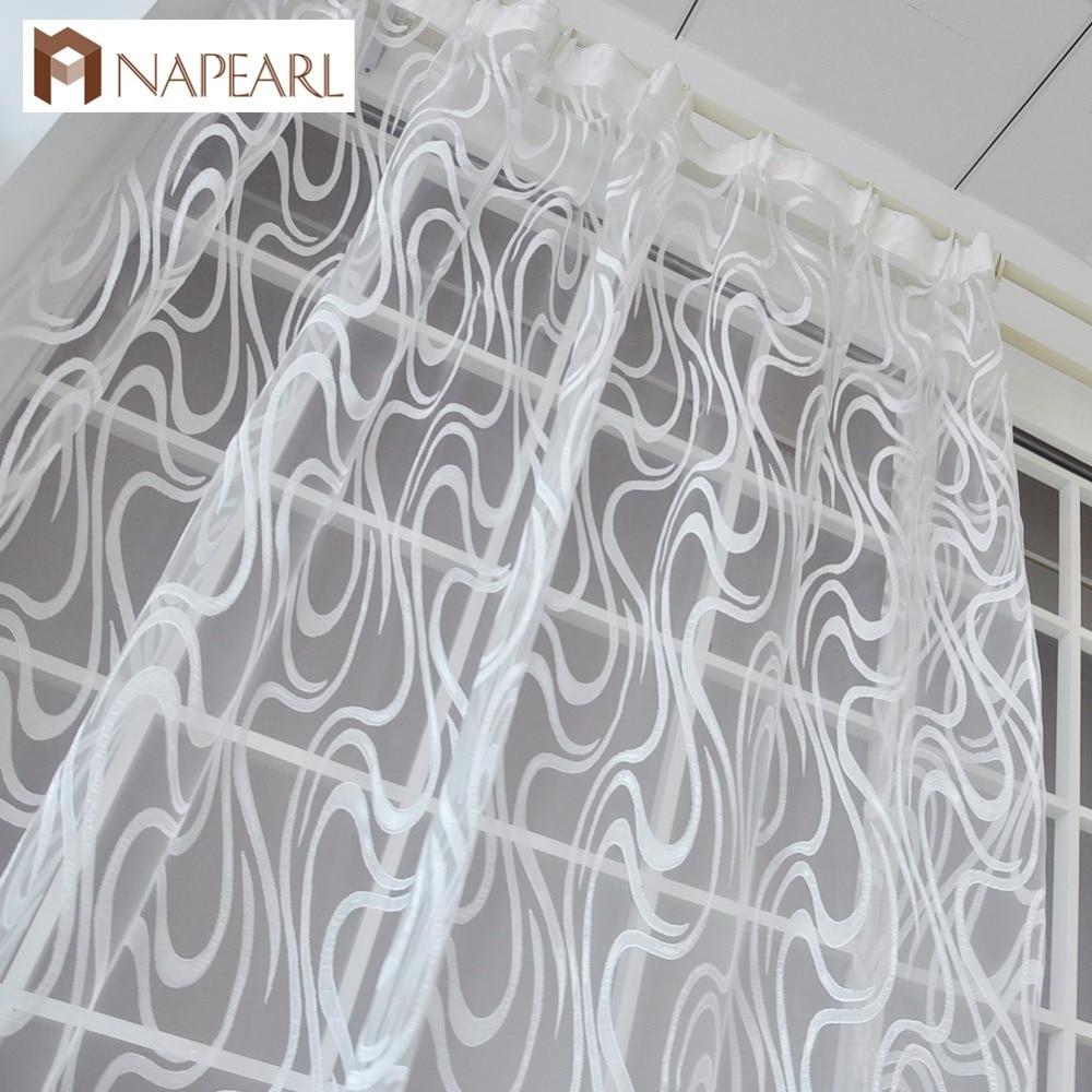 NAPEARL, estilo europeo, diseño de jacquard a rayas, listas para usar cortinas transparentes, cortinas simples modernas de tul, organza, ventana para sala de estar