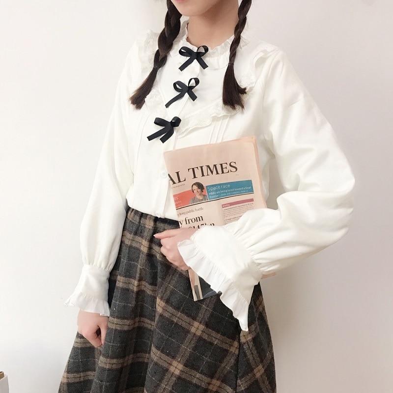 Mori menina manga longa moda blusa 2019 gola camisa feminina japonesa lolita borboleta blusa branca
