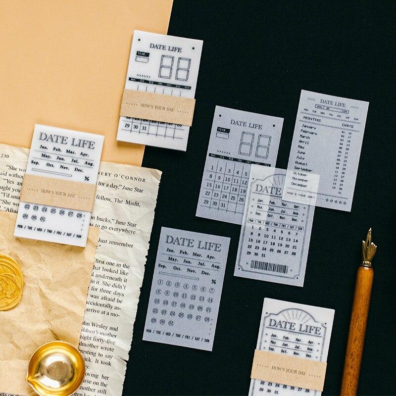Fromthenon papel transparente de ácido sulfúrico fecha diario Bloc de notas Pad Vintage planificador organizador calendario semanal calendario Bloc de notas