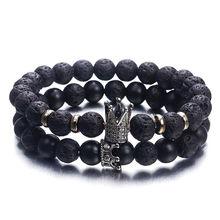 Persönlichkeit Schwarz Weiß Vulkanischen Stein Perlen Armbänder Antike Gold Crown Charme Armband Für Frauen Männer Schmuck Liebhaber Geschenk ns63