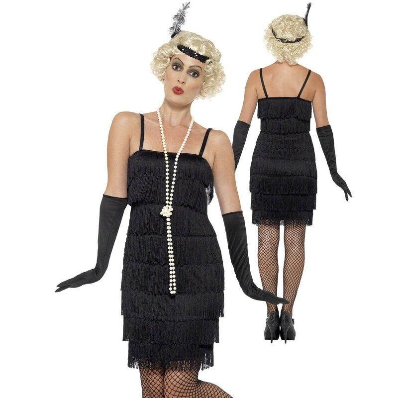 Женское платье с бахромой Charleston Gatsby, черное платье с кисточками, 8 цветов