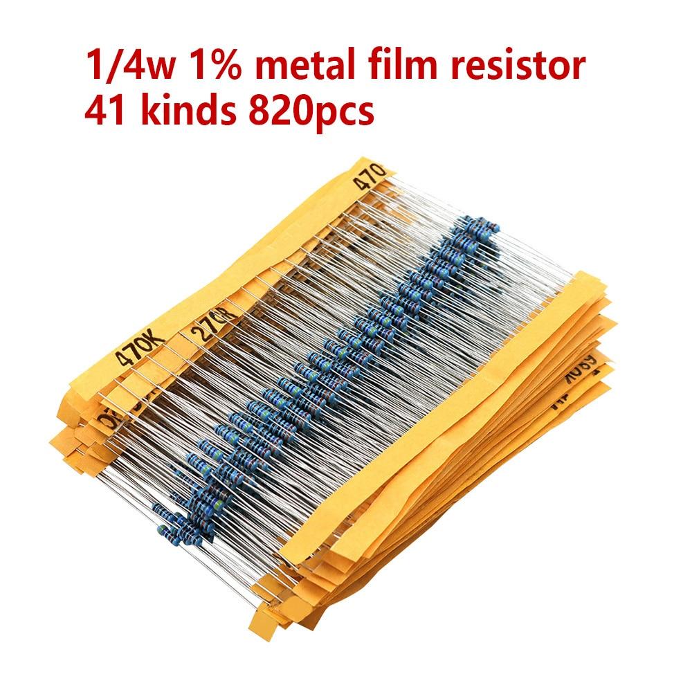 820 unids/set 40 tipos 1/4W resistencia 1% película metálica Resistor Pack surtido Kit 1K 10K 100K 220ohm 1M resistencias