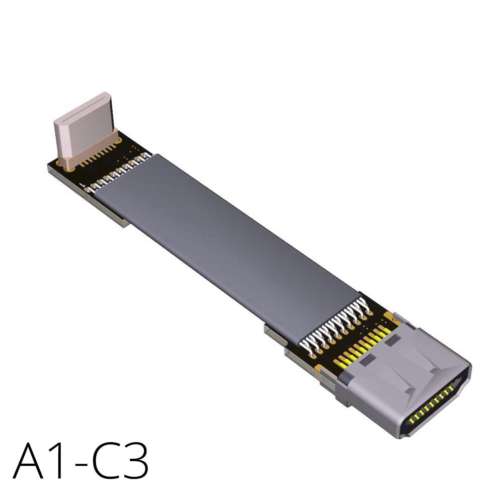 4K 60Hz HDMI 2.0 To C Type Mini HDMI Down Angled 20pin FFC Flat Ribbon Cable HDMIMini Supports FPV Audio AV Ultra HD A1C3