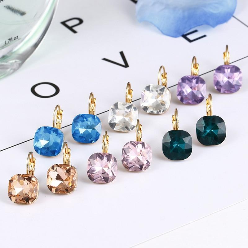 E0257 New Arrival Fashion Pink Blue Crystal Earrings For Women Girls Vintage Drop Earrings Statement Wedding Jewelry Wholesale