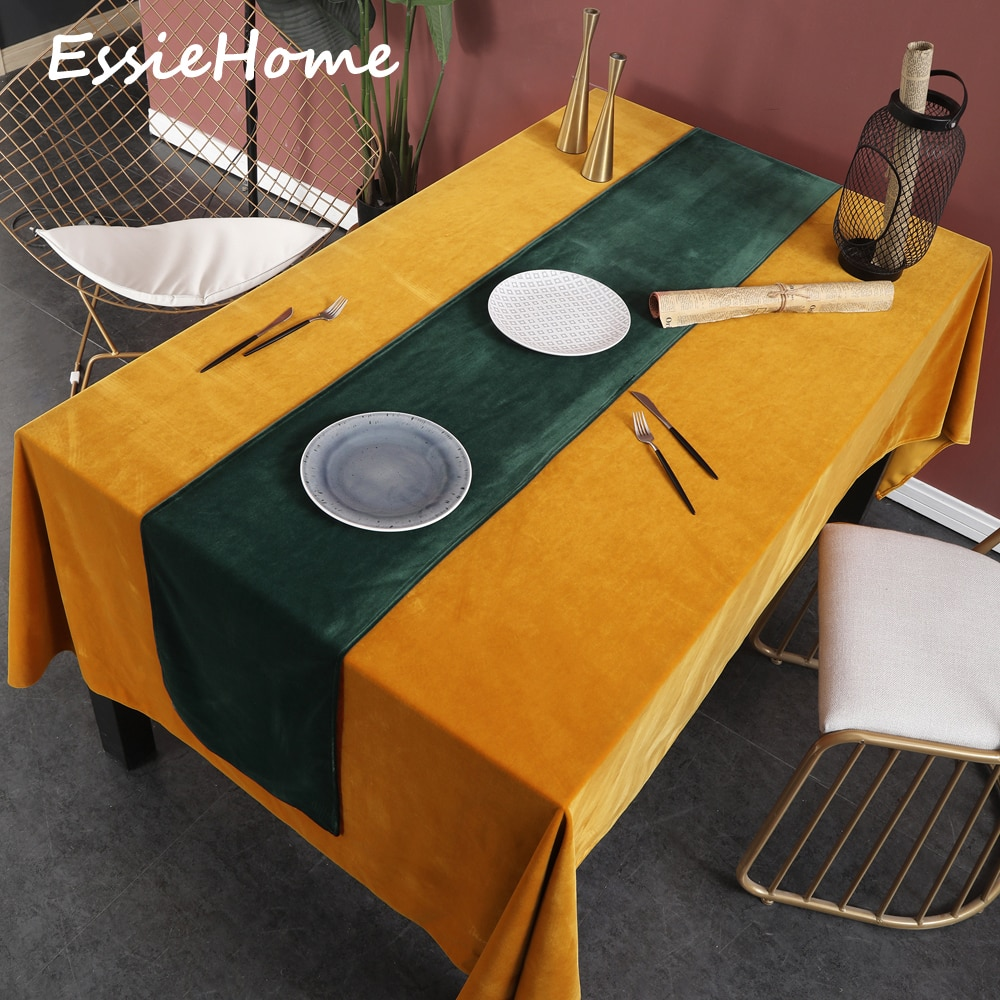 ESSIE HOME Rich Green Emerald Green Single Side Matte Velvet High End Table Runner Wedding Decoration Placemat