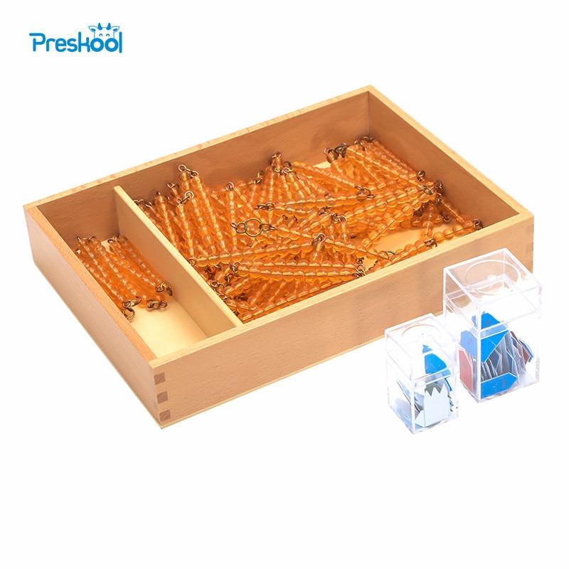 Детские игрушки Монтессори напечатаны стрелы бисера цепи 100 и 1000 с коробкой дошкольного образования дошкольного обучения