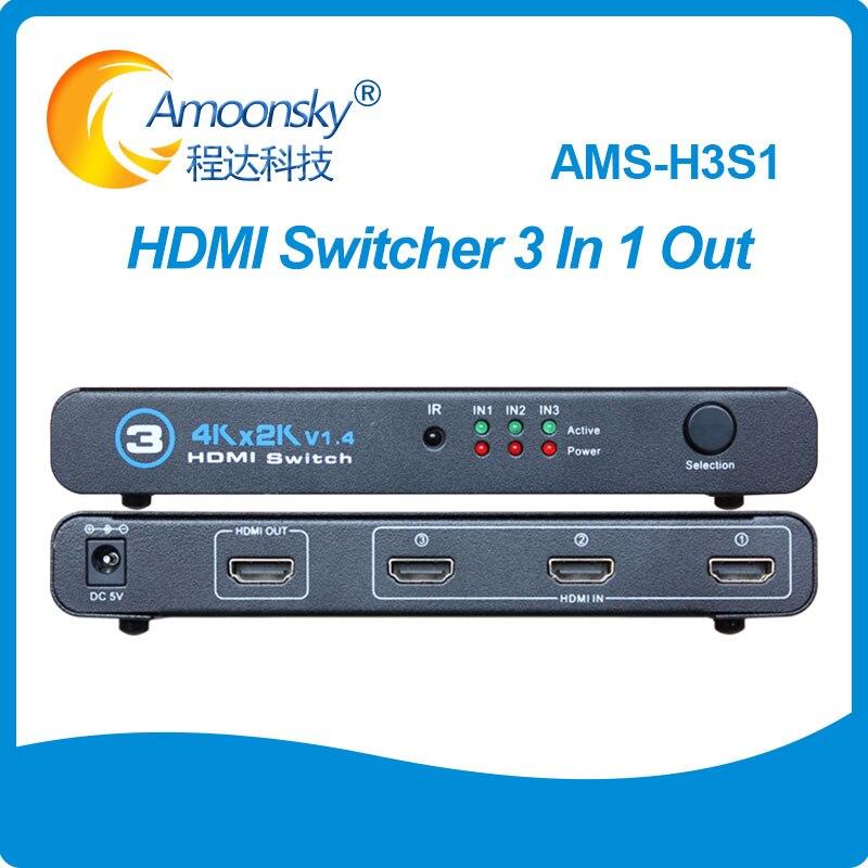 Conmutador de AMS-H3S1 HDML, 3 Entradas, 1 salida, 4K x 2K, 3D,...