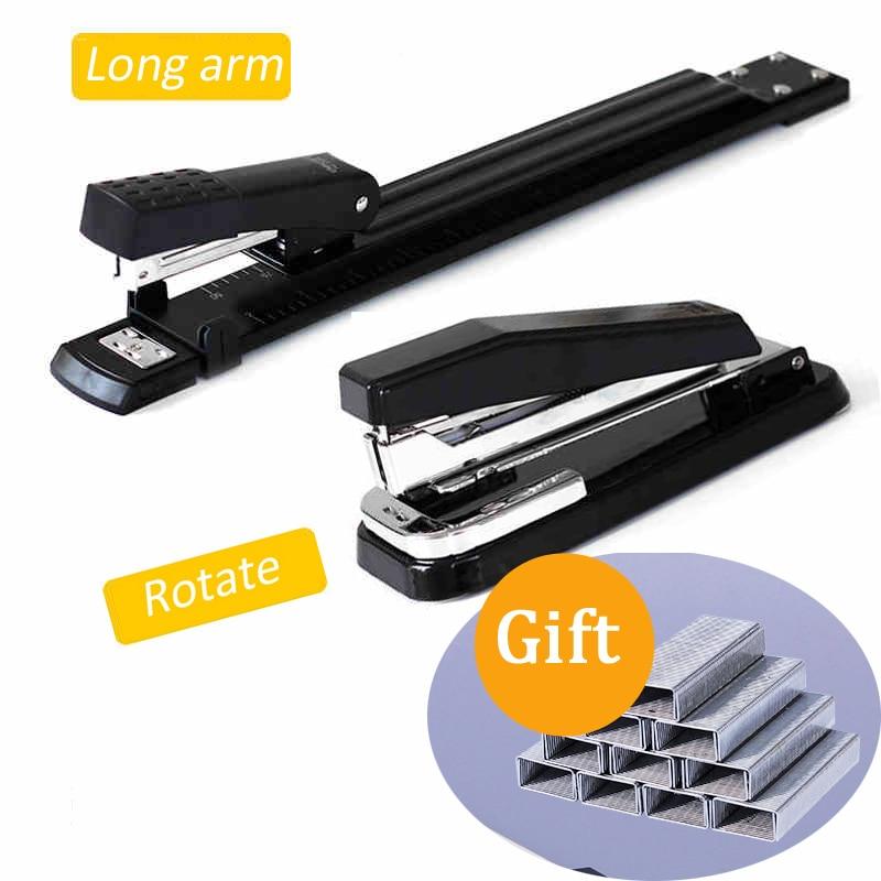 Металлический степлер, длинный/поворотный степлер для швейной машины A3/A4, сшивание бумаги скобами, офисный степлер для переплета