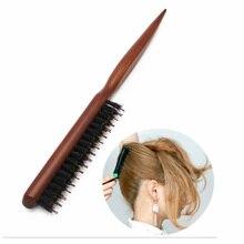 Wysokiej jakości rękojeść z drewna naturalna szczotka do włosów z włosia dzika puszysta grzebień fryzjerstwo fryzjer narzędzia do stylizacji włosów