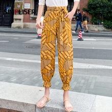 Floral Printed Women Chiffon Pants Elastic Waist Loose Casual Female Trousers Ankle Length 2019 Summer Cool Femme Pantalon Black
