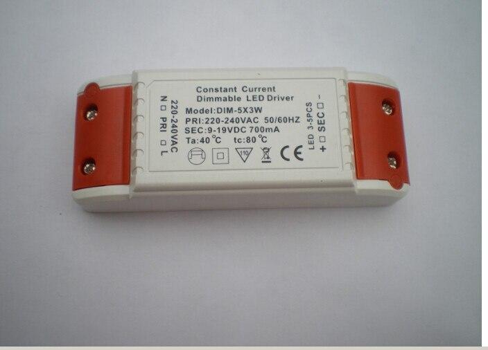 100 sztuk do użytku W pomieszczeniach 5*3W 9-19V 700ma stałe napięcie led z możliwością przyciemniania sterownik zasilacz 220V/240V transformator oświetleniowy ściemniacz
