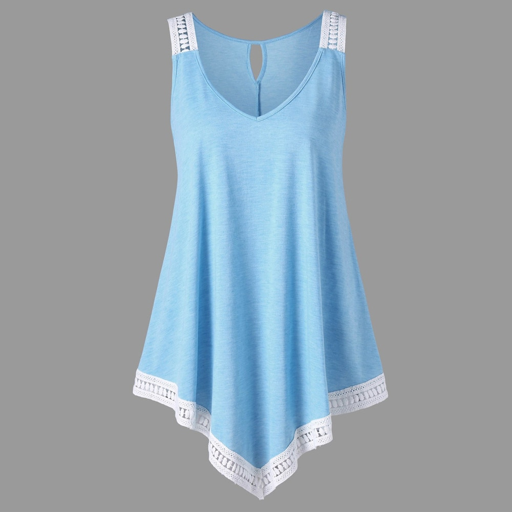 Feitong, blusa Irregular de verano con encaje y escote en V, Túnica a la moda para mujer, camiseta de señora, blusa informal sin mangas, blusa femenina