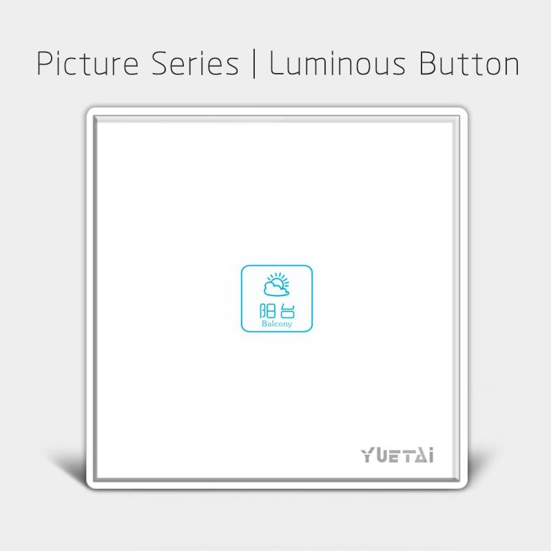 Interruptor de pared de automatización del hogar 2017, Interruptor táctil del Panel de cristal, interruptor de luz de 1 unidad para hogar inteligente