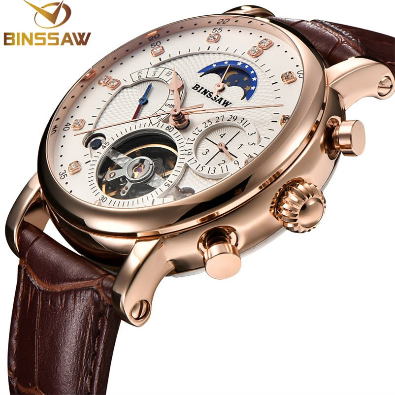 BINSSAW, reloj para hombre, Tourbillon mecánico, marca de moda de lujo, reloj deportivo de cuero para hombre, reloj automático para hombre, reloj Masculino