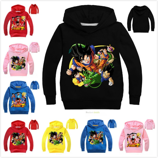 2-14y sudaderas de moda para niños de dibujos animados Dragon Ball Z Goku DBZ niñas sudaderas con capucha prendas de vestir primavera niños ropa niños con capucha
