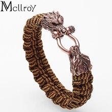Homme Bracelet/tressé/mode/homme/fait main/large/corde/tissé/Bracelet hommes Animal tête de loup Bracelets homme bijoux amitié cadeau