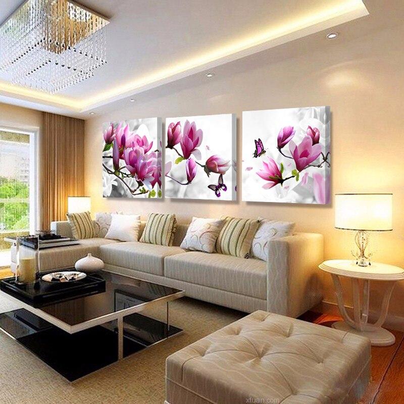 Sin marco 3 piezas pintura de pared caliente flores lienzo pintura hogar pared decoración lienzo impresiones sala de estar Decoración HY51