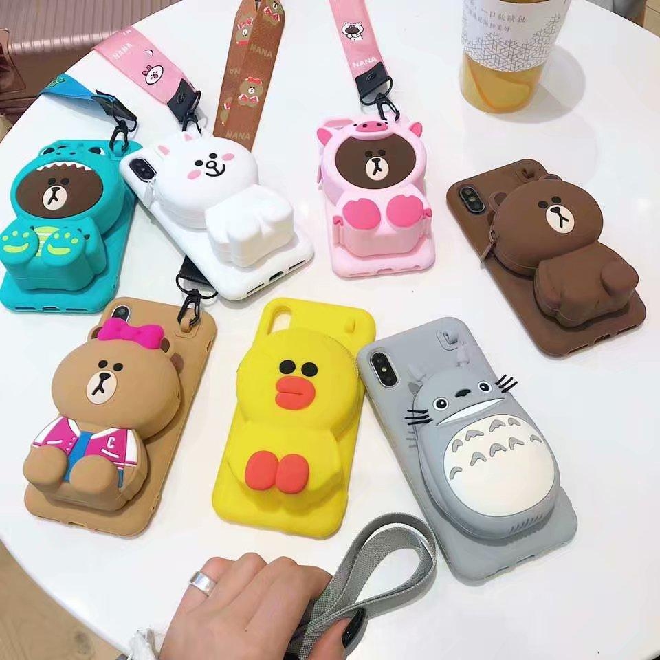ORYKSZ 3D Cartoon Totoro Brieftasche Hand mit Telefon Fall Für iPhone 11 Pro Max 6 6s 7 8 Plus X XR XS Max Silikon Zurück Abdeckung Fundas