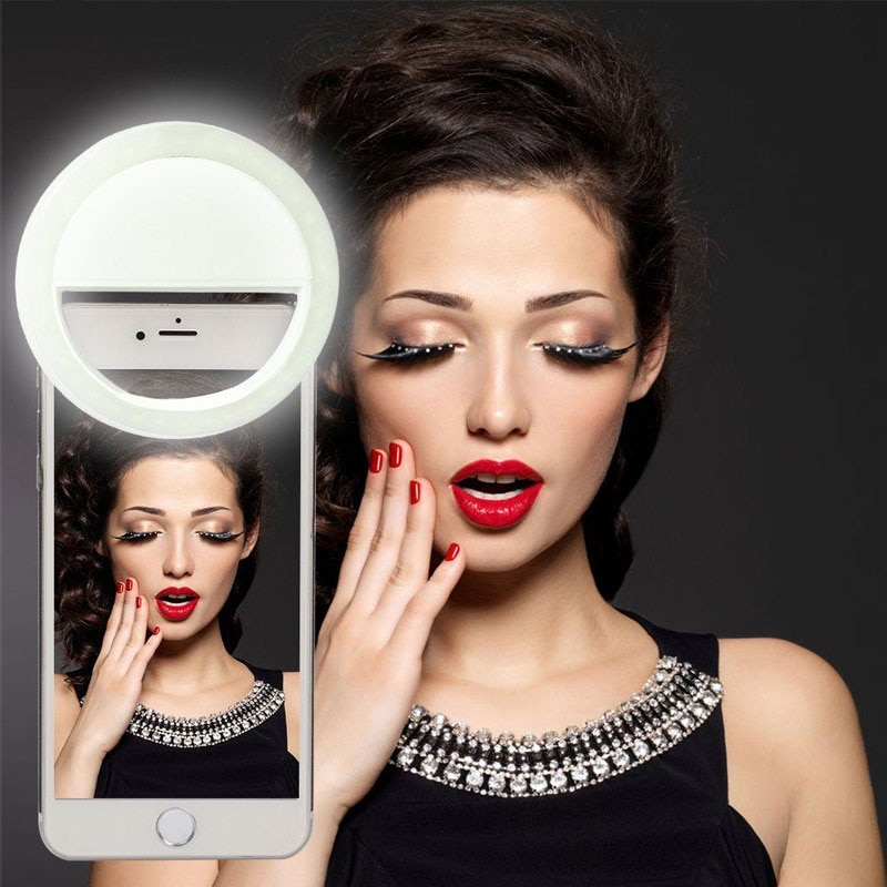 Anillo de Selfie con carga USB, anillo luz led portátil para smartphone, flash, anillo, lámpara, maquillaje, mejora la fotografía, cámara de teléfono