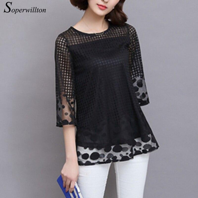 Soperwillton M-5XL de talla grande Tops y blusas para mujer ahuecan hacia fuera la Blusa de encaje mujeres Tops camisas elegantes camisa de malla suelta # B753