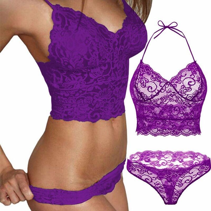 2pcs Transparent Women Bra Set Lace Lingerie Set Sexy Hot Erotic Flowers  Purple Seamless Underwear Brief Lenceria