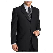 Classique sur mesure noir hommes costumes pour hommes costume, costumes sur mesure avec 3 boutons, revers cranté, poche à rabat