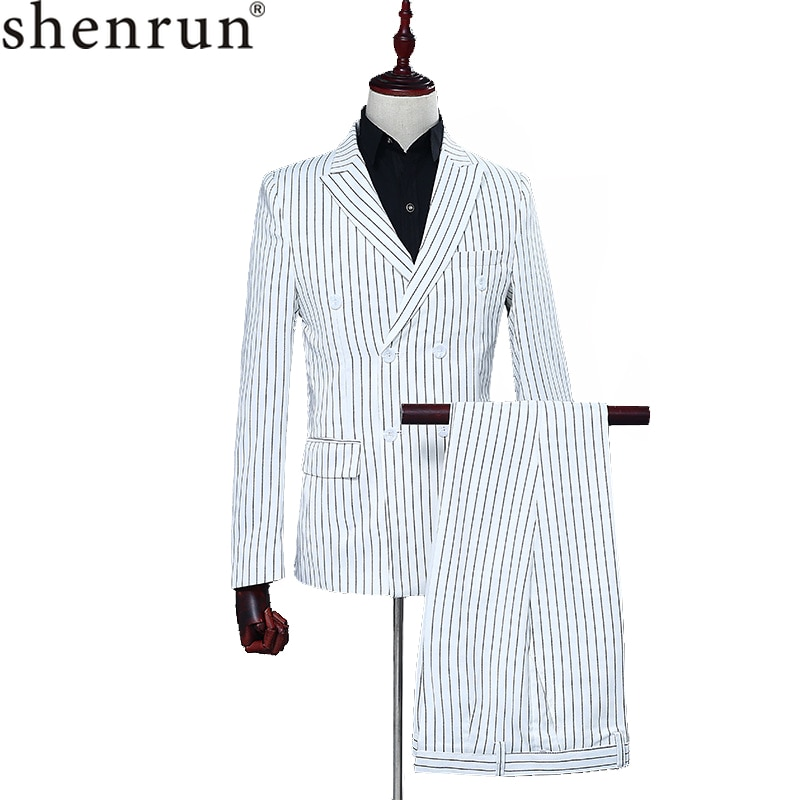 Shenrun Mens Stripe Double Breasted White Suits Wedding Suit Tuxedo Men Fashion jacket Pants Casual Business Party Prom