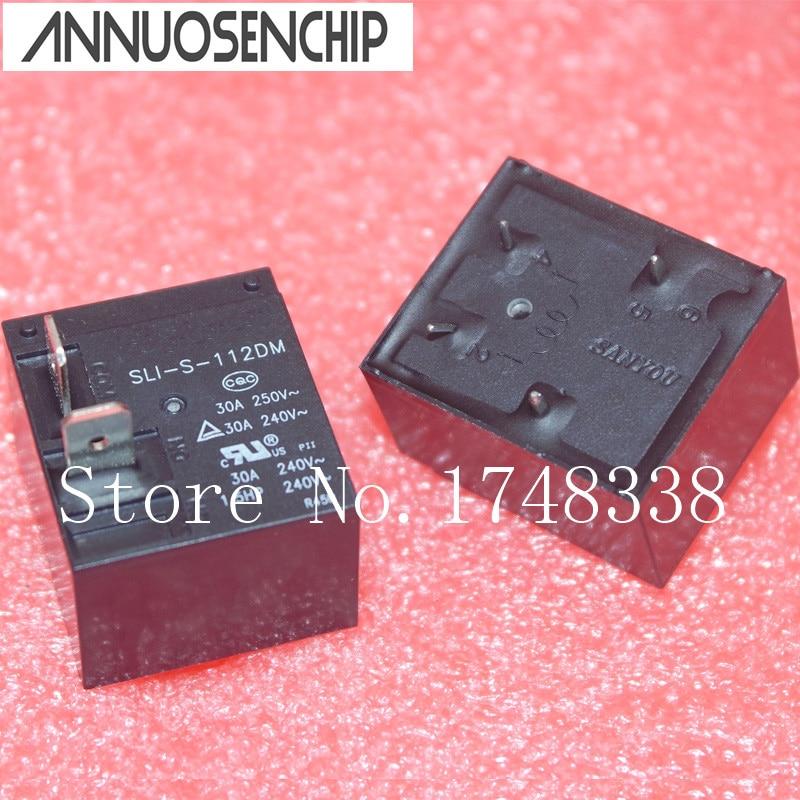 10 unids/lote relé de potencia SLI-S-112DM 250 V 30A 4 pies normalmente abierto DC12V relé de potencia 30A 240VAC 4Pin