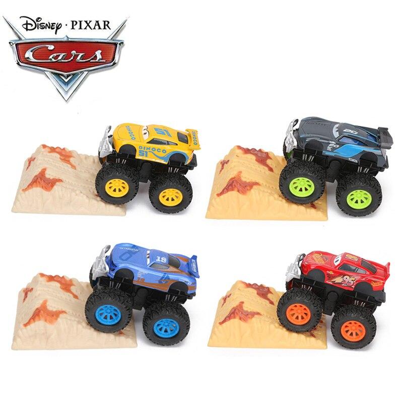 Set of 4 Disney Pixar Cars 3 Toys 9cm Stunt Big Foot Die-cast Car  Lightning McQueen Jackson Storm Dinoco Pull Back Cars Model