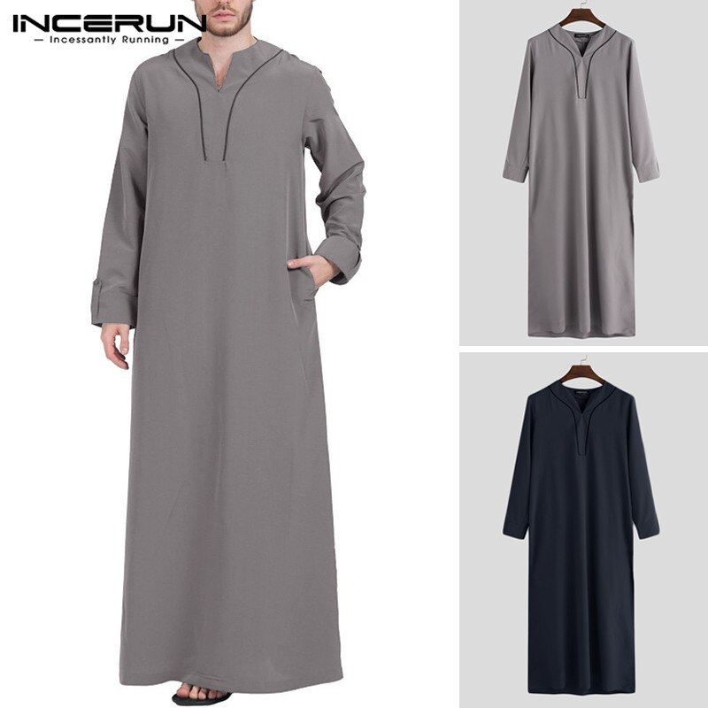 INCERUN Muslim Clothes Men Arabic Islamic Kaftan Vintage Long Sleeve V Neck Jubba Thobe Dubai Saudi Arabia Abaya Robes Men 2020