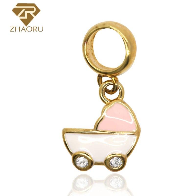Colgante Zhaoru de Plata de Ley 925 para carrito de la compra, pulsera, brazalete y collar DIY ZP2467