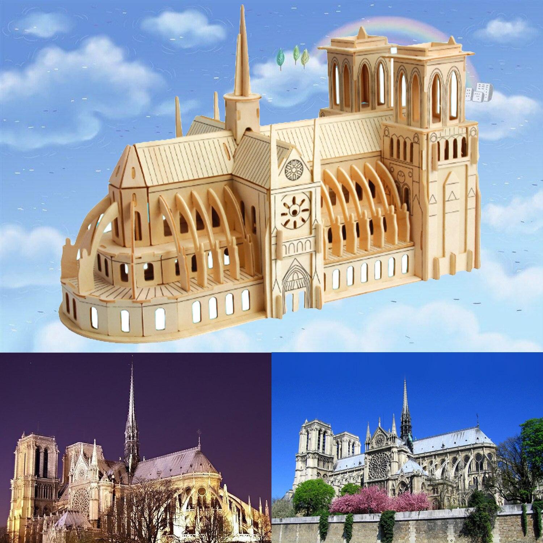Simulación de la catedral de Notre Dame, Kit de construcción de París, rompecabezas de artesanía de madera 3D, recuerdo de decoración para niños, regalo para niños adultos