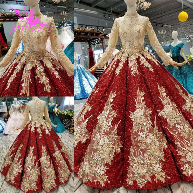 Vestidos de novia de lunares AIJINGYU, vestidos de Reina, vestidos románticos Suzhou, vestido de boutique perfecto para novia con manga, vestido de novia