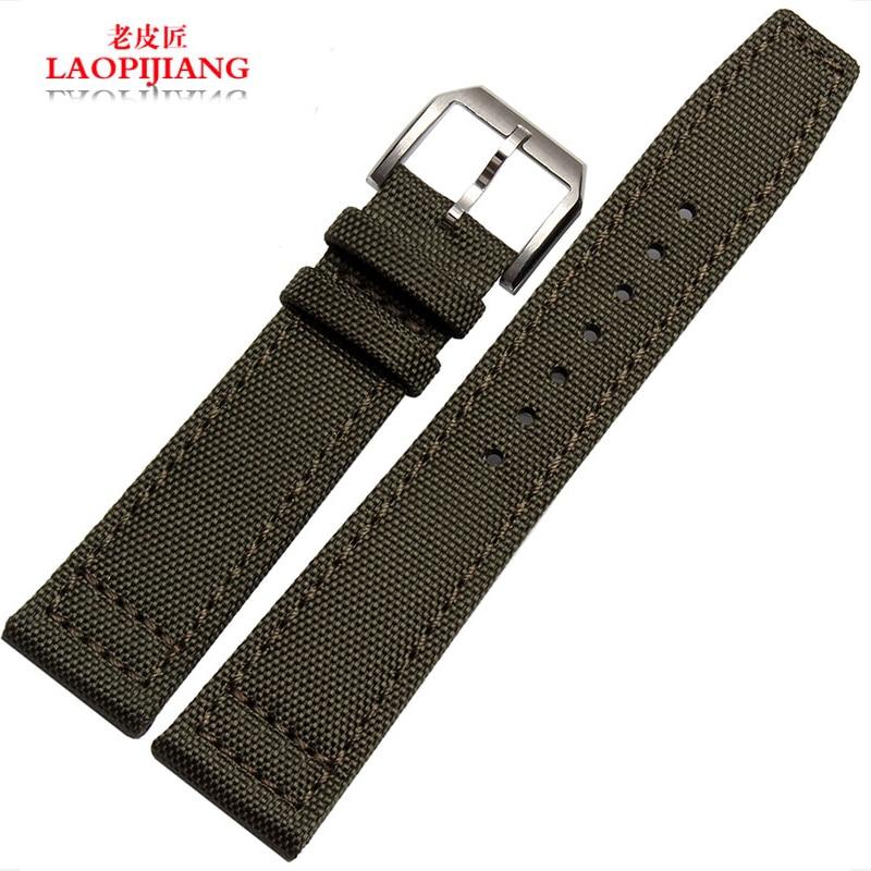 Laopijiang waterproof nylon strap watch band adapter strap fit iwc male nations pilots Portuguese Phoenix 20 21 22mm for men