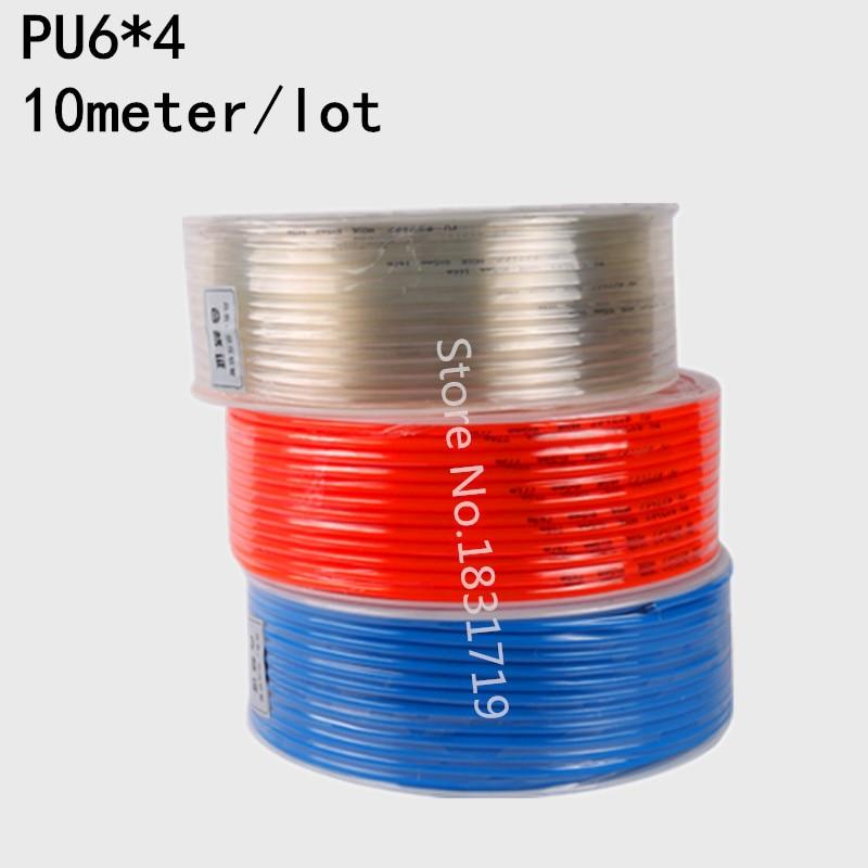 Tuyau flexible en PU pneumatique   10 M/Lot, PU6x4 6mm OD 4mm ID, tuyau tubulaire PU6 * 4
