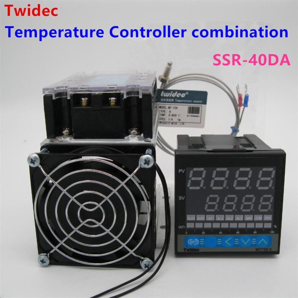 Regulador de termostato de calidad alta, salida SSR, controlador de temperatura PID + termopar K + relé trifásico de estado sólido SSR-40DA