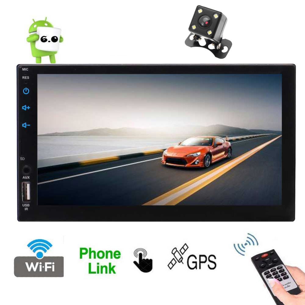 Soporte Android 1080P por 7 pantalla capacitiva 2 Din unidad principal de coche con Quad Core CPU 2GB RAM 16GB ROM soporte Radio GPS Navi