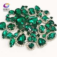 malachite green mix size crystal buckleclaw rhinestonesilver base galss sew on stones diyclothing accessories 50pcspack