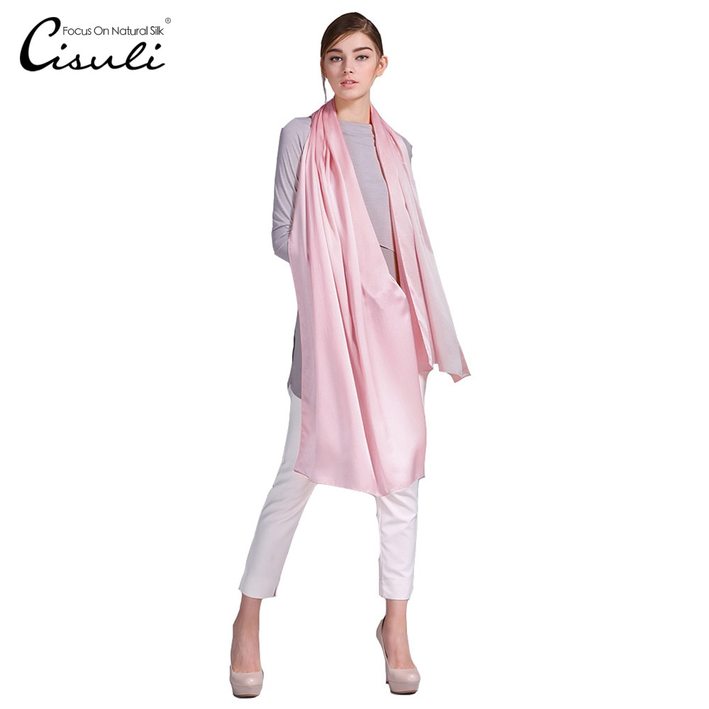 100% Silk Satin Long Scarf 55X180cm Pure Mulberry Silk Plain Color Silk Scarf Factory Direct Online Store 47 Pink