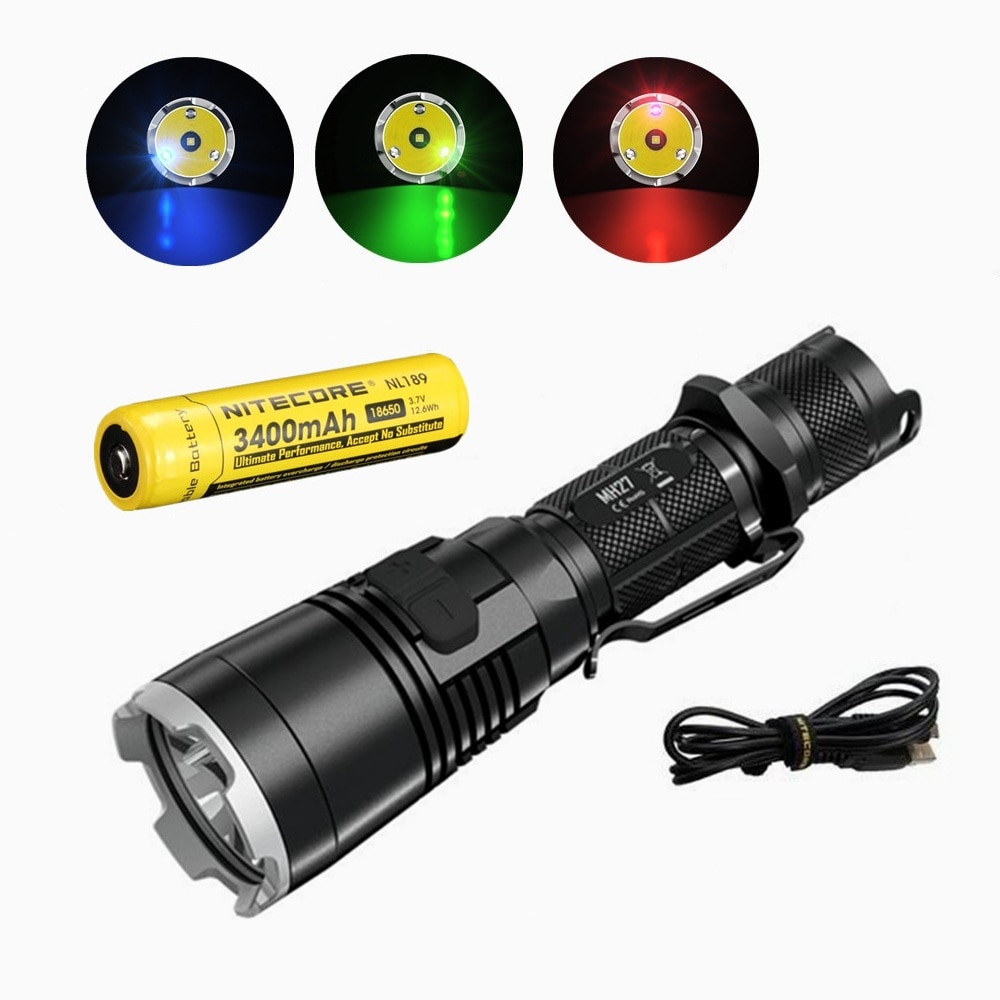 Nitecore MH27 светодиодный фонарик, светодиодный, 1000 лм + RGB, с аккумулятором nitecore NL189, 3400 мАч