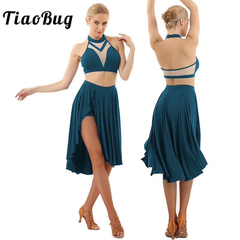 TiaoBug Frauen Halfter Ärmellose Backless Crop Tops Ballett Tutu Latin Rock Set Asymmetrische Zeitgenössische Lyrical Dance Kostüme