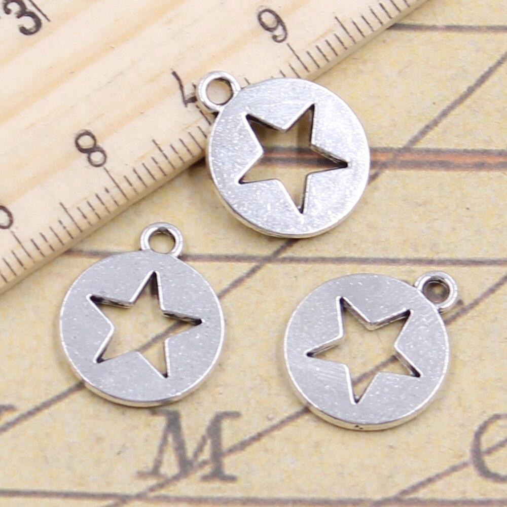 Lote de 10 Uds de colgantes de plata envejecida de 18x15mm con diseño de estrella hueca para manualidades, venta al por mayor de fábrica de joyería hecha a mano
