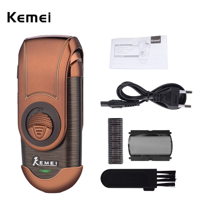 Afeitadora eléctrica Kemei para hombres, cordón de afeitar y recortadora de barba de viaje inalámbrica, afeitado de cara, depilación + recortadora de patillas emergente