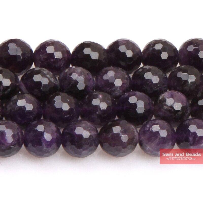 """Venta al por mayor de piedra Natural facetada púrpura amatista cuarzo cuentas sueltas 15 """"hebra 4 6 8 10 MM para la fabricación de joyas FPAB01"""